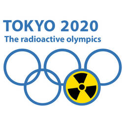 "Logo der IPPNW-Kampagne ""TOKYO 2020 - The Radioactice Olympics"""