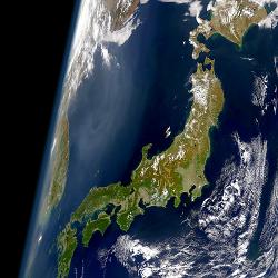 Japan aus der Weltraum-Perspektive: Foto: SeaWiFS Project, NASA/Goddard Space Flight Center, and ORBIMAGE [Public domain]