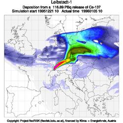 Leibstadt: Deposition from a 116.89 PBq release of Cs-137, Grafik: Projekt flexRisk