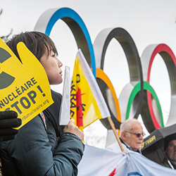 Protestaktion vor dem Sitz des Olympischen Komittees in Lausanne am 26.02.2020, Foto: Ch. Chammartin