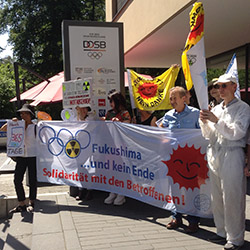 "Aktion der Kampagne ""Tokyo 2020 - The Radioactive Olympics"" in Frankfurt, Foto: IPPNW"