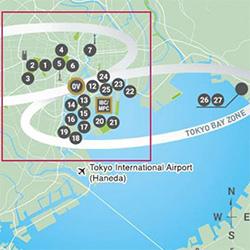 Olympische Austragungsorte rund um die Bucht von Tokio. Grafik: www.2020games