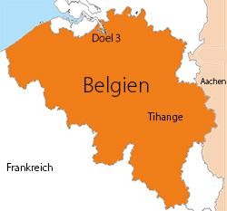 AKWs Doel und Tihange, Belgien. Bild: gemeinfrei